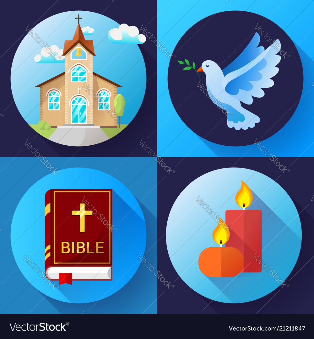 Religion icons set color flat design