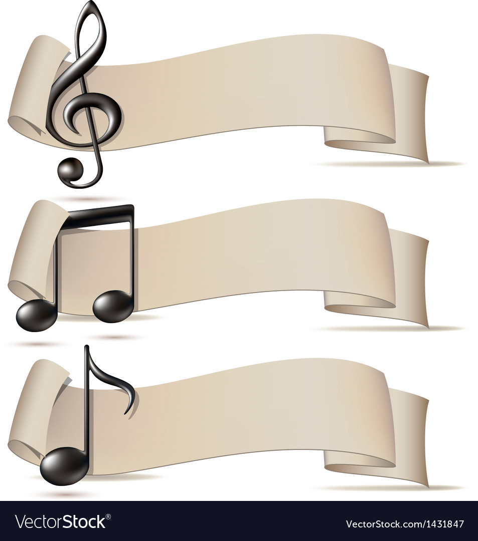 Set of banners with music icons vector image