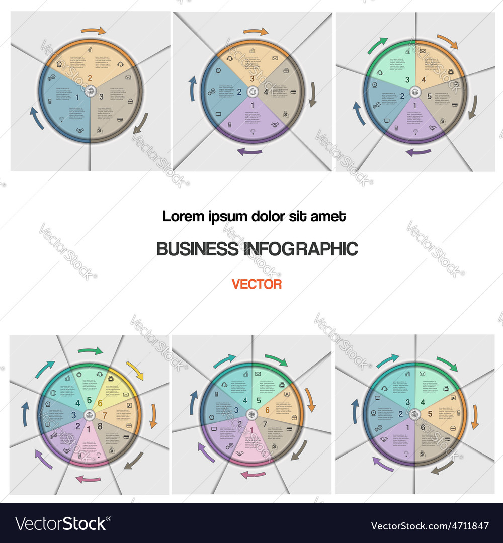 Set Pie Chart Template With Text Areas Royalty Free Vector