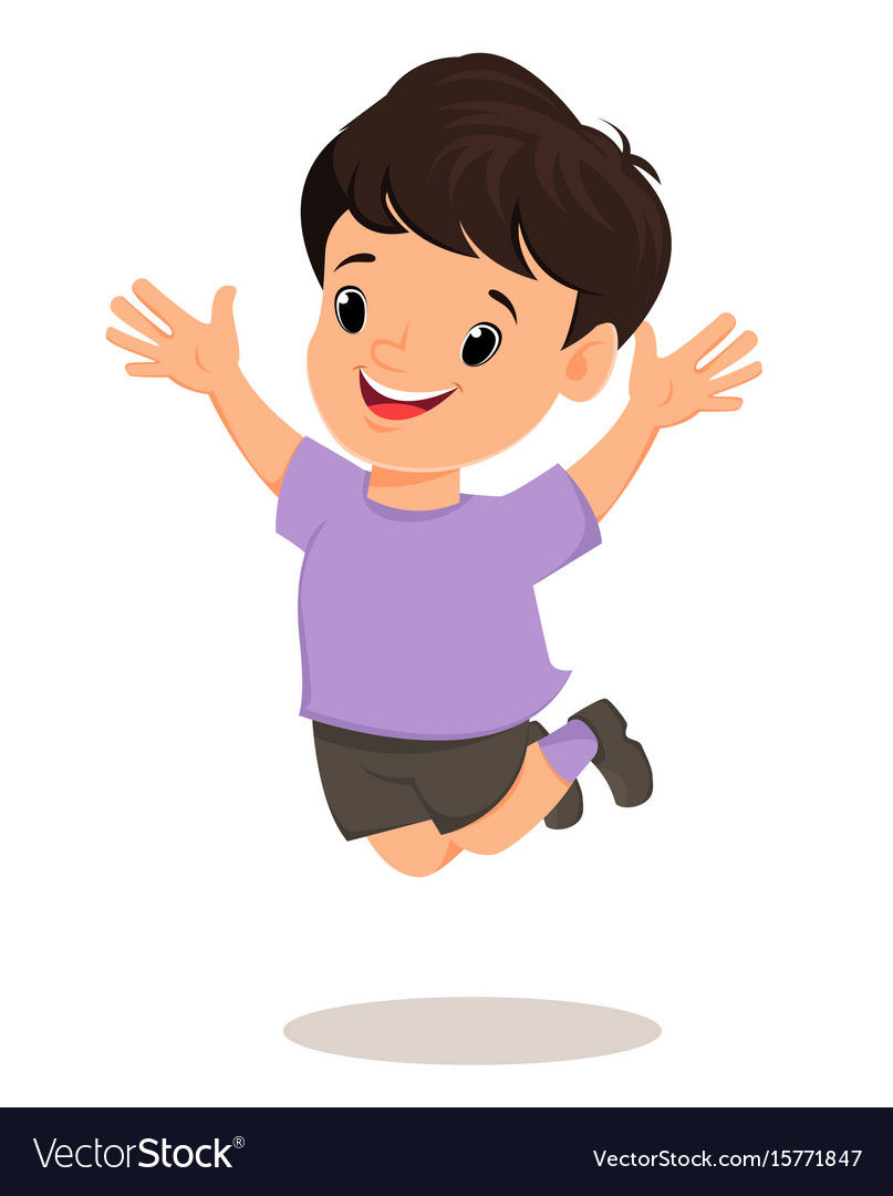 ba6df7ea50 Smiling boy makes a jump pretty cartoon character Vector Image