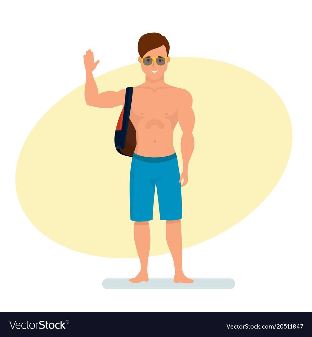 Surfer with backpack on shoulder standing