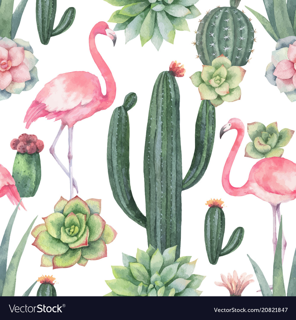 Watercolor seamless pattern of pink