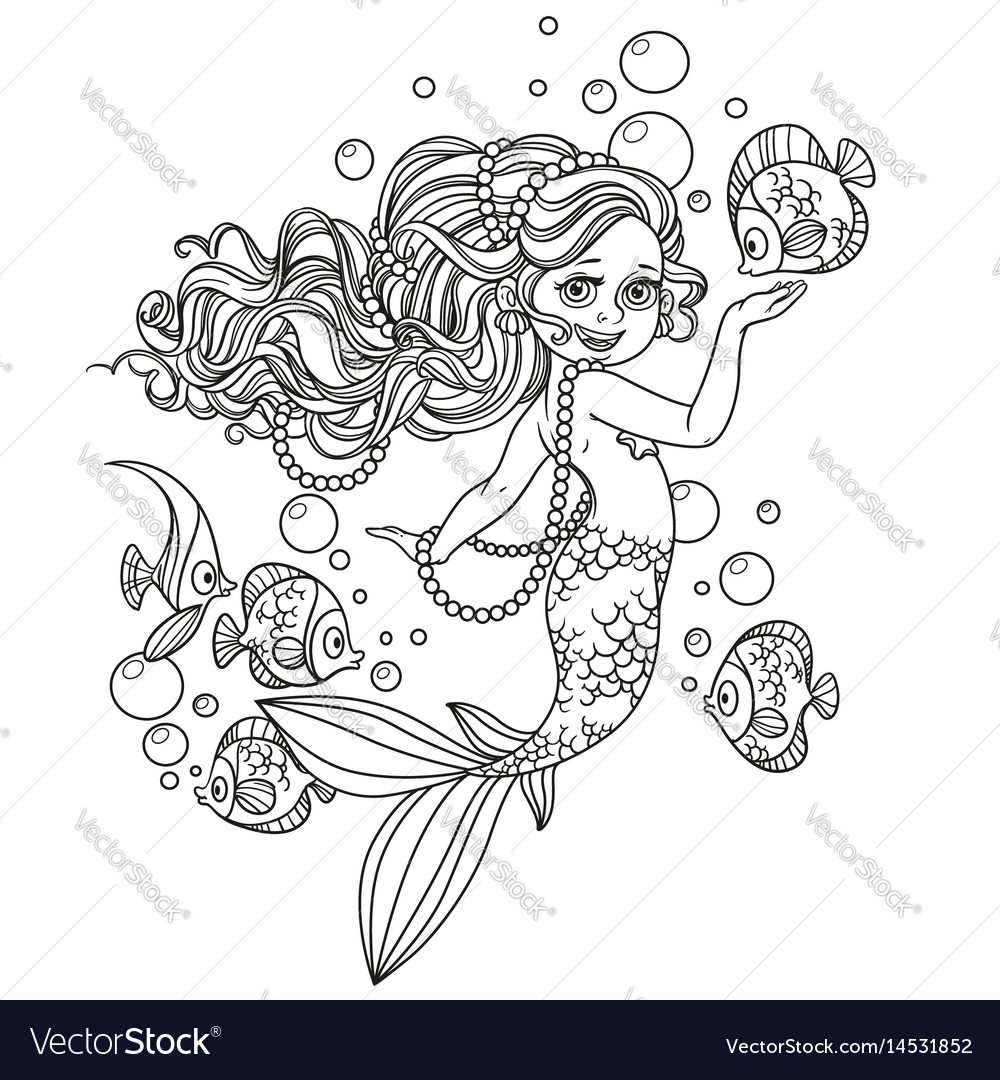 Beautiful little mermaid girl outlined isolated on vector image