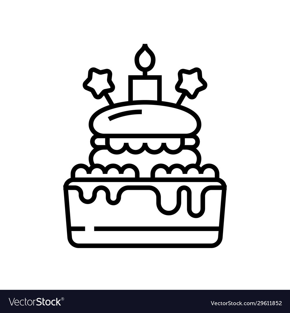 Incredible Birthday Cake Line Icon Concept Sign Outline Vector Image Birthday Cards Printable Trancafe Filternl