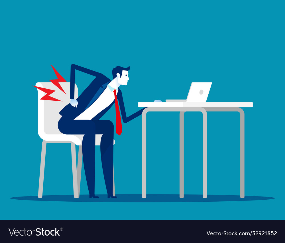 Businessman with back pain from wrong way to sit