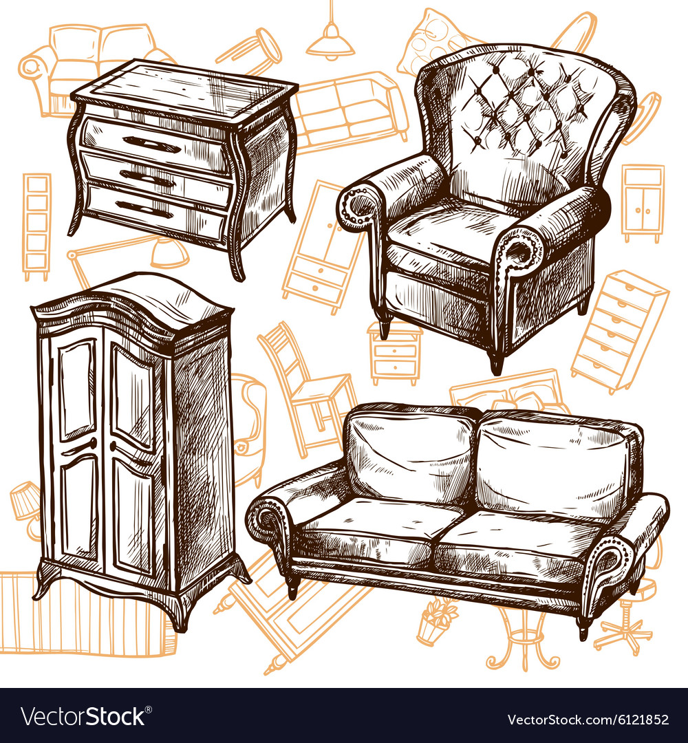 Superieur Furniture Sketch Seamless Concept Vector Image