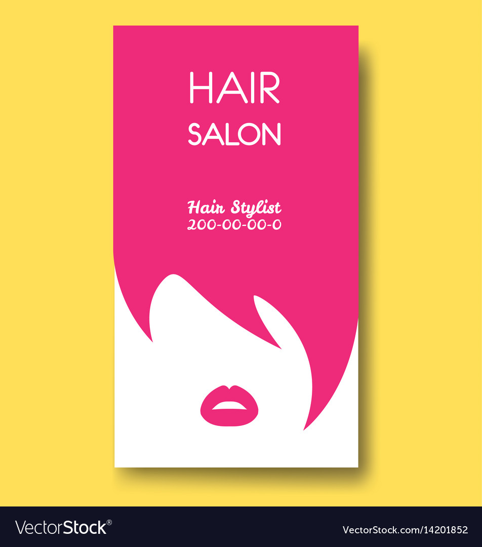 Hair salon business card templates with pink hair vector image accmission Images