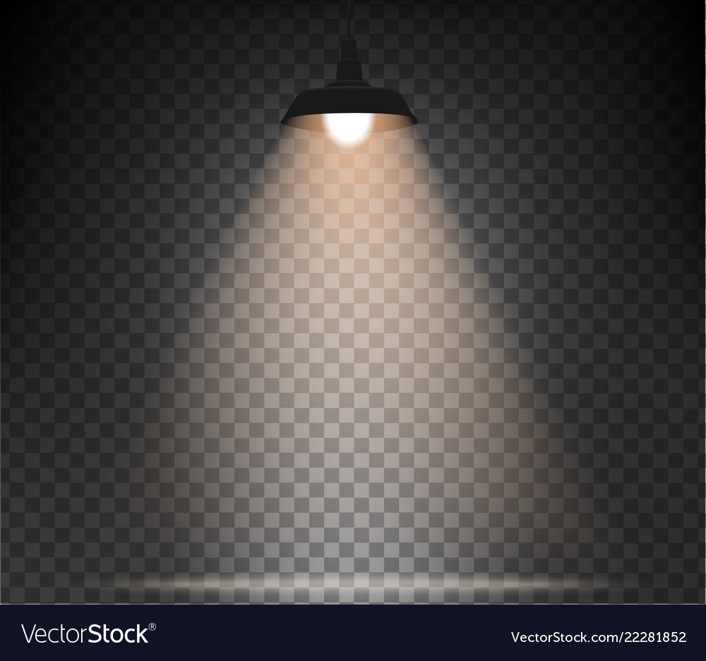 Lamp with warm light on a transparent