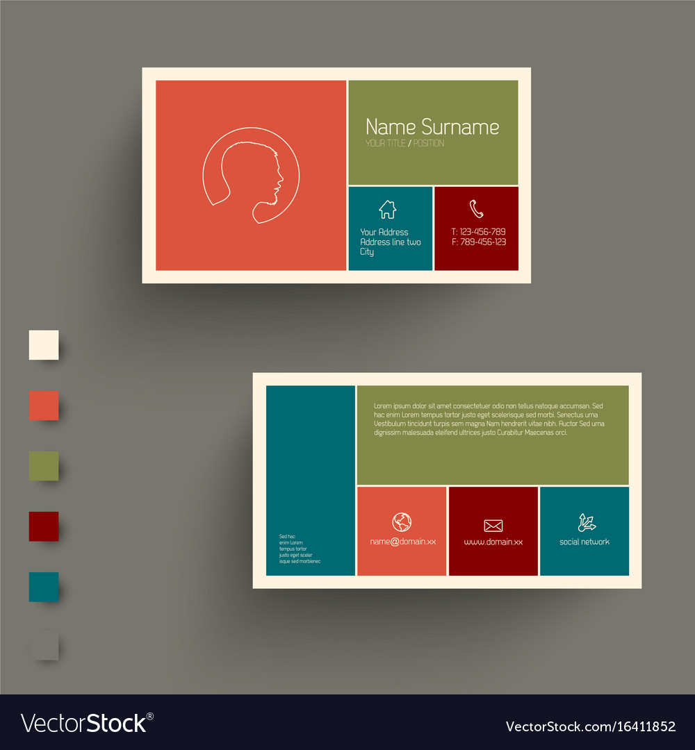 Modern Business Card Template With Flat Mobile Vector Image - Mobile business card template