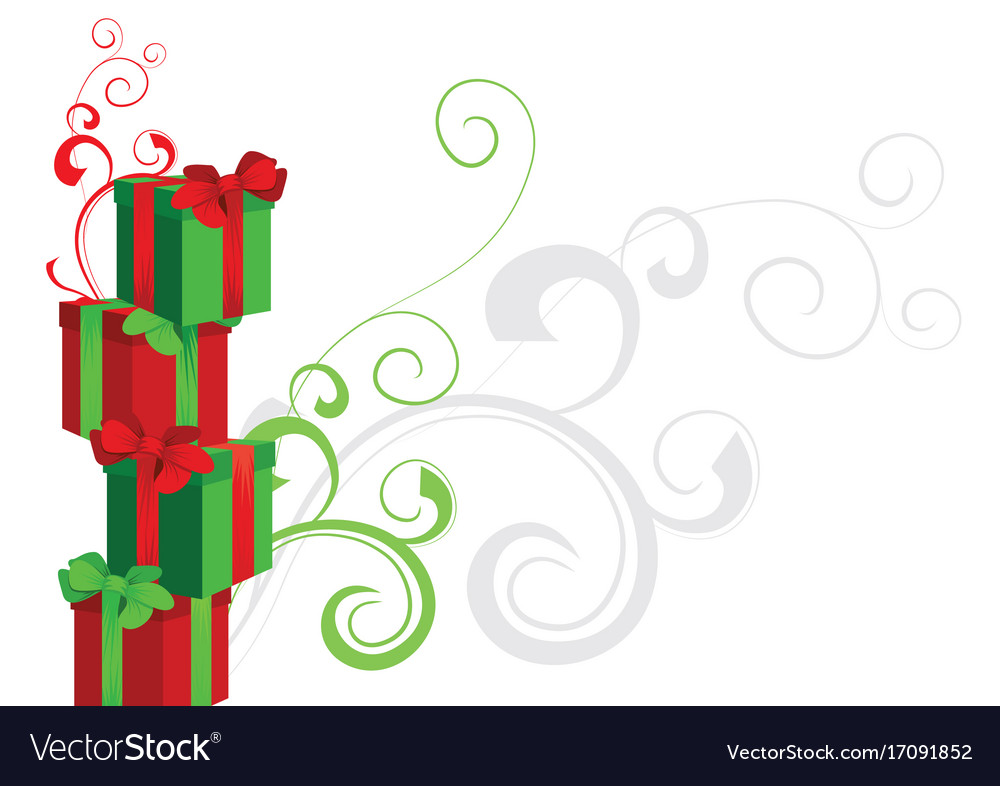 Piramide of gift boxes red and green with
