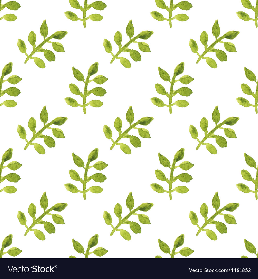 Seamless watercolor pattern with leaves on the