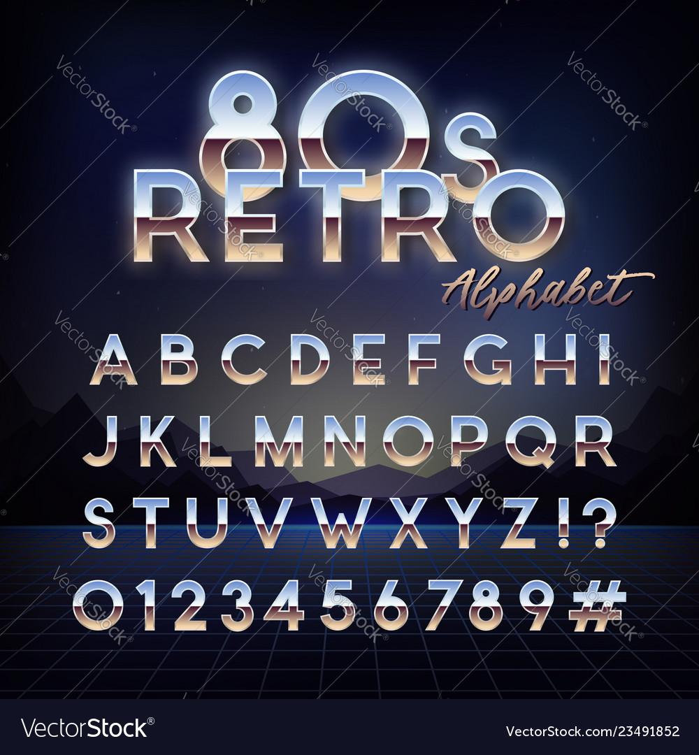 Shiny 80s retro alphabet futuristic english font