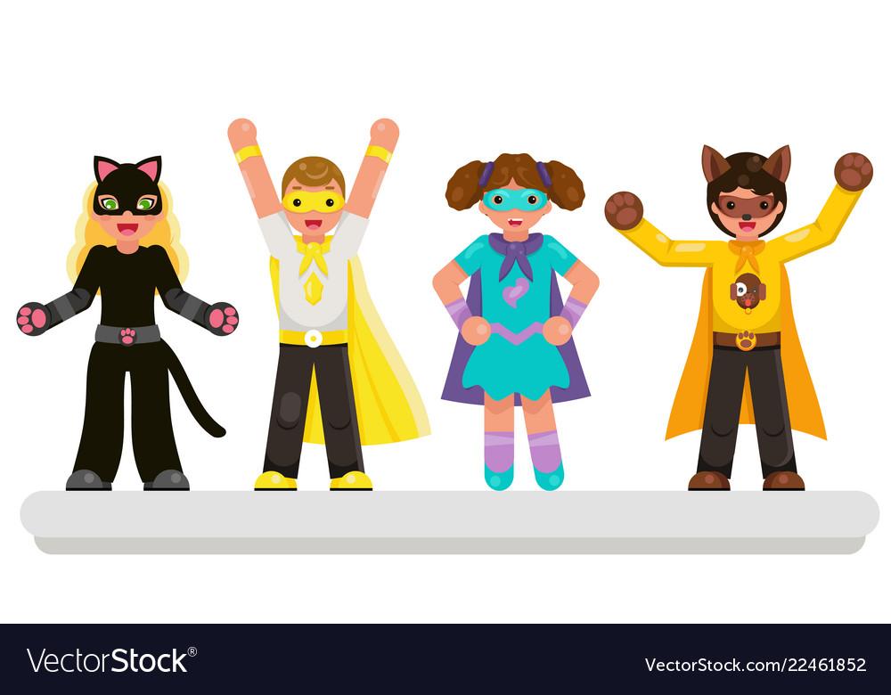Super hero kids teens characters set flat design