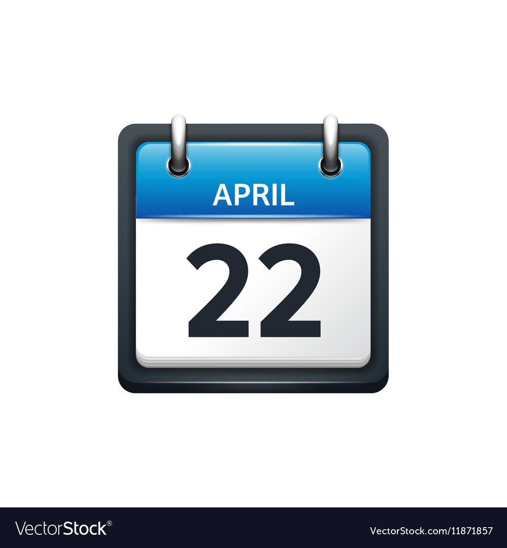 April 22 Calendar icon flat