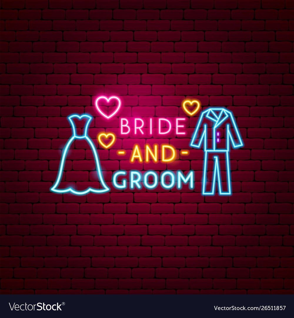 Bride and groom neon label