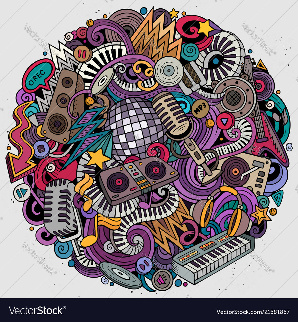 Cartoon doodles disco music