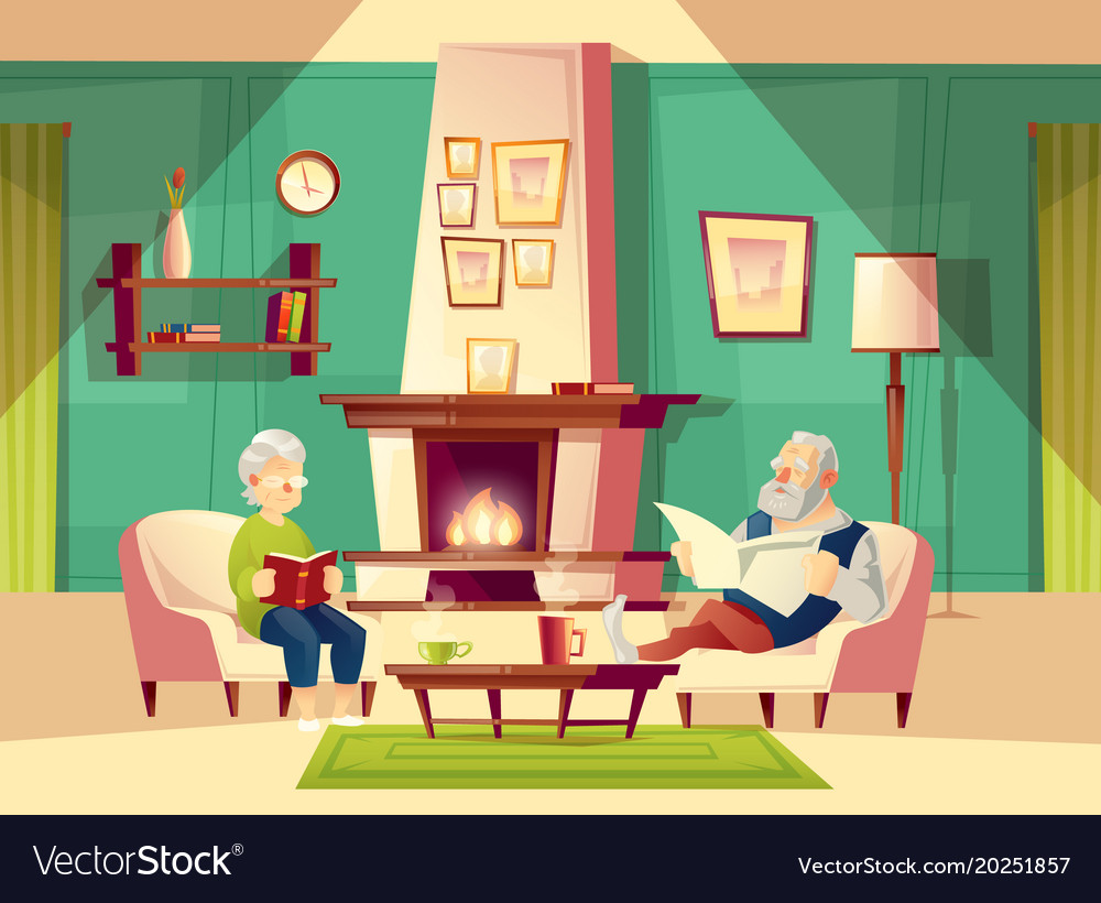 Cartoon Old Man And Woman In Living Room
