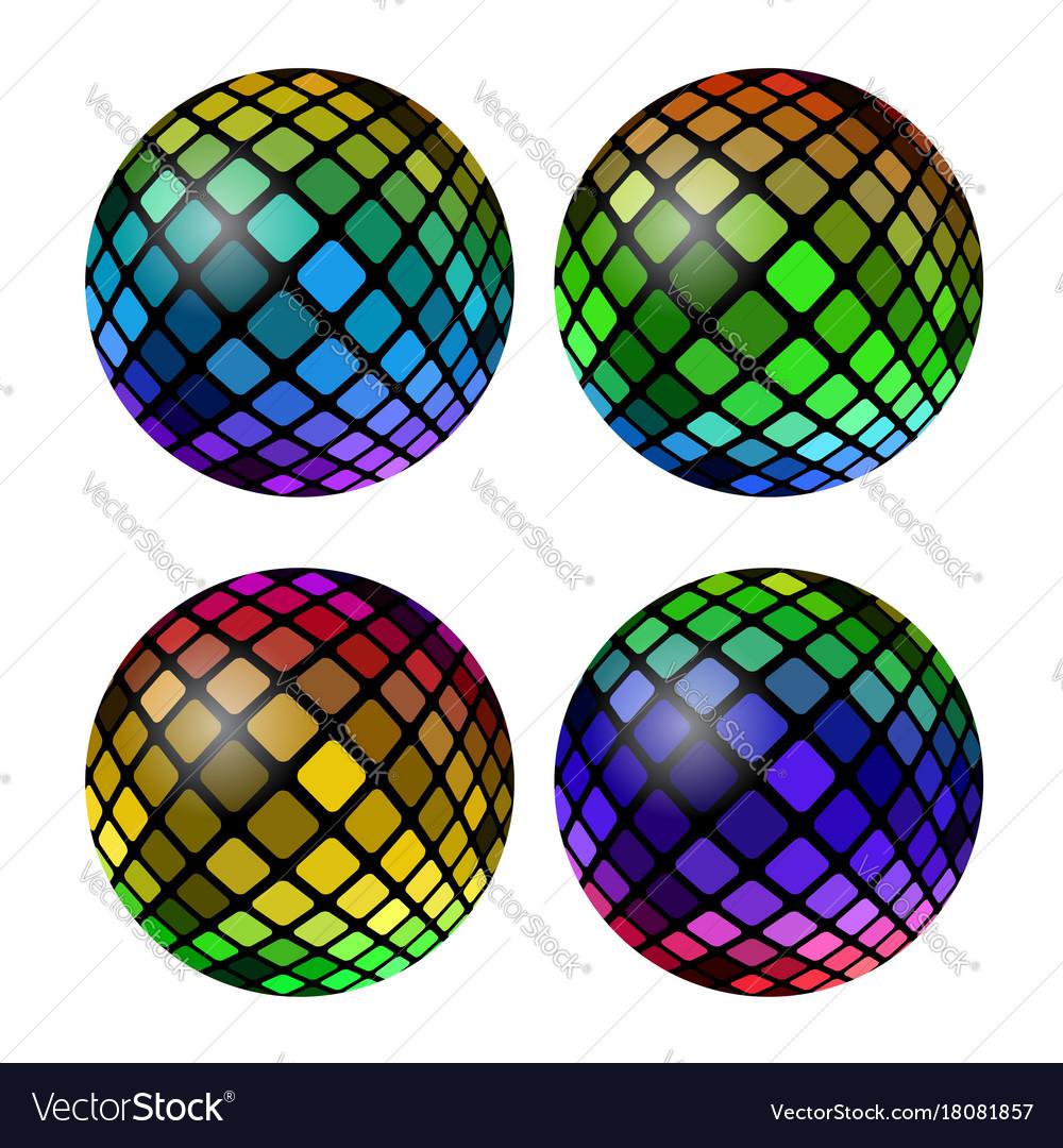 Colored mosaic ball set