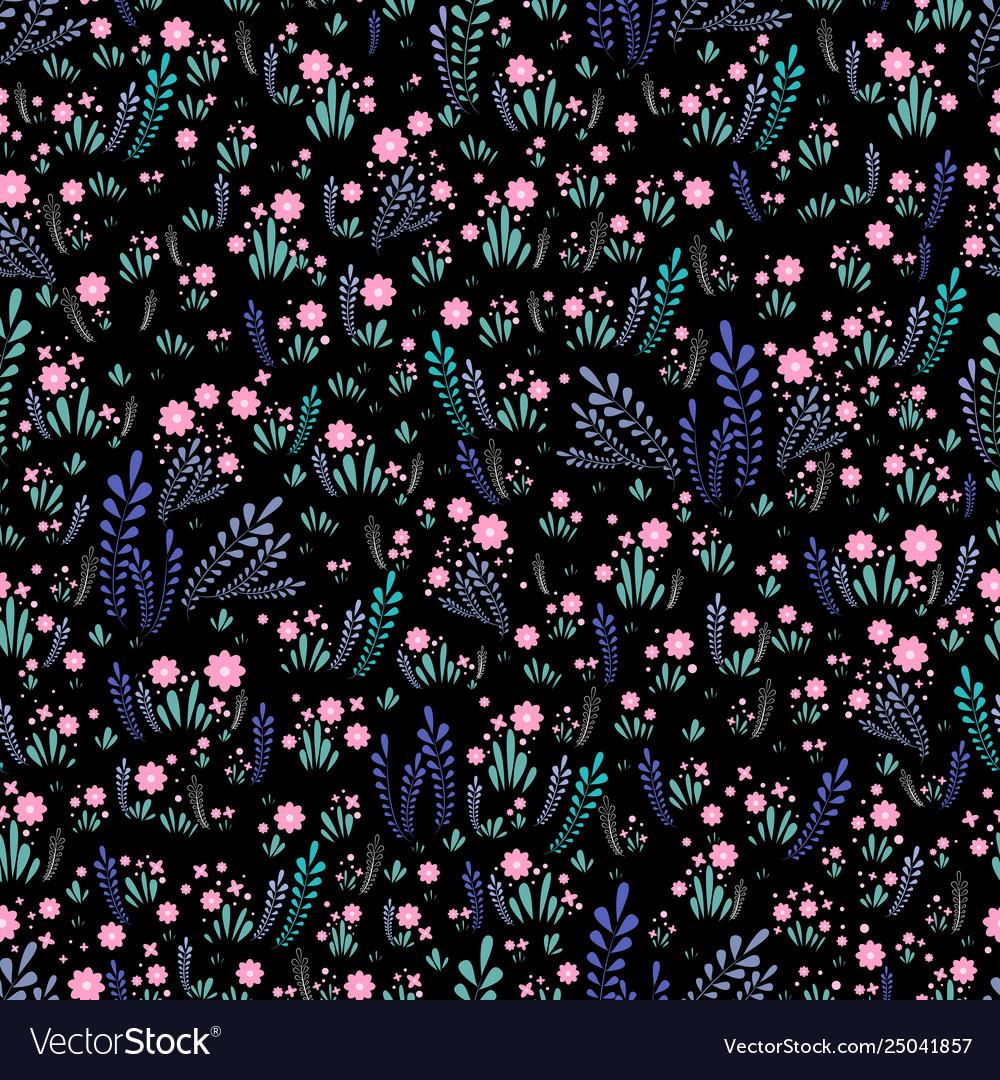 Field wild flowers seamless floral pattern bright