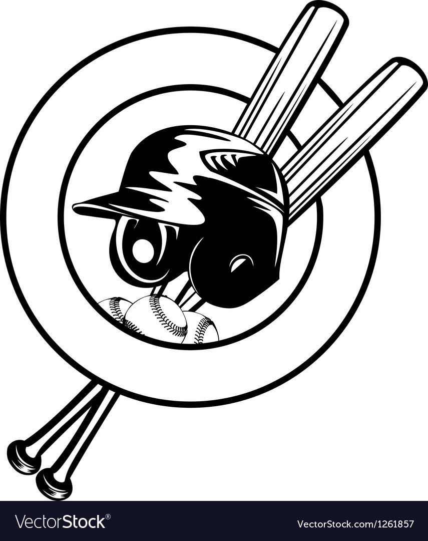 Helmet balls and crossed bats vector image