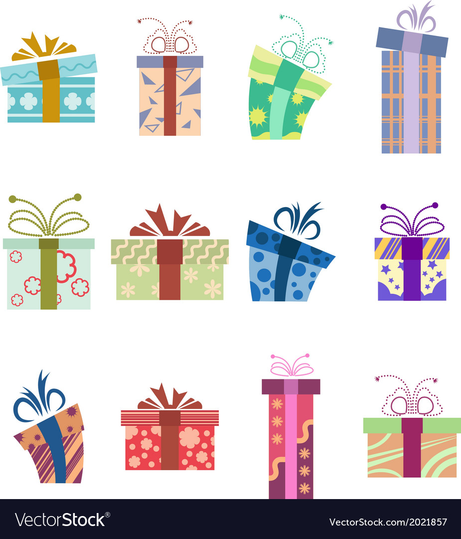 Icons with presents vector image
