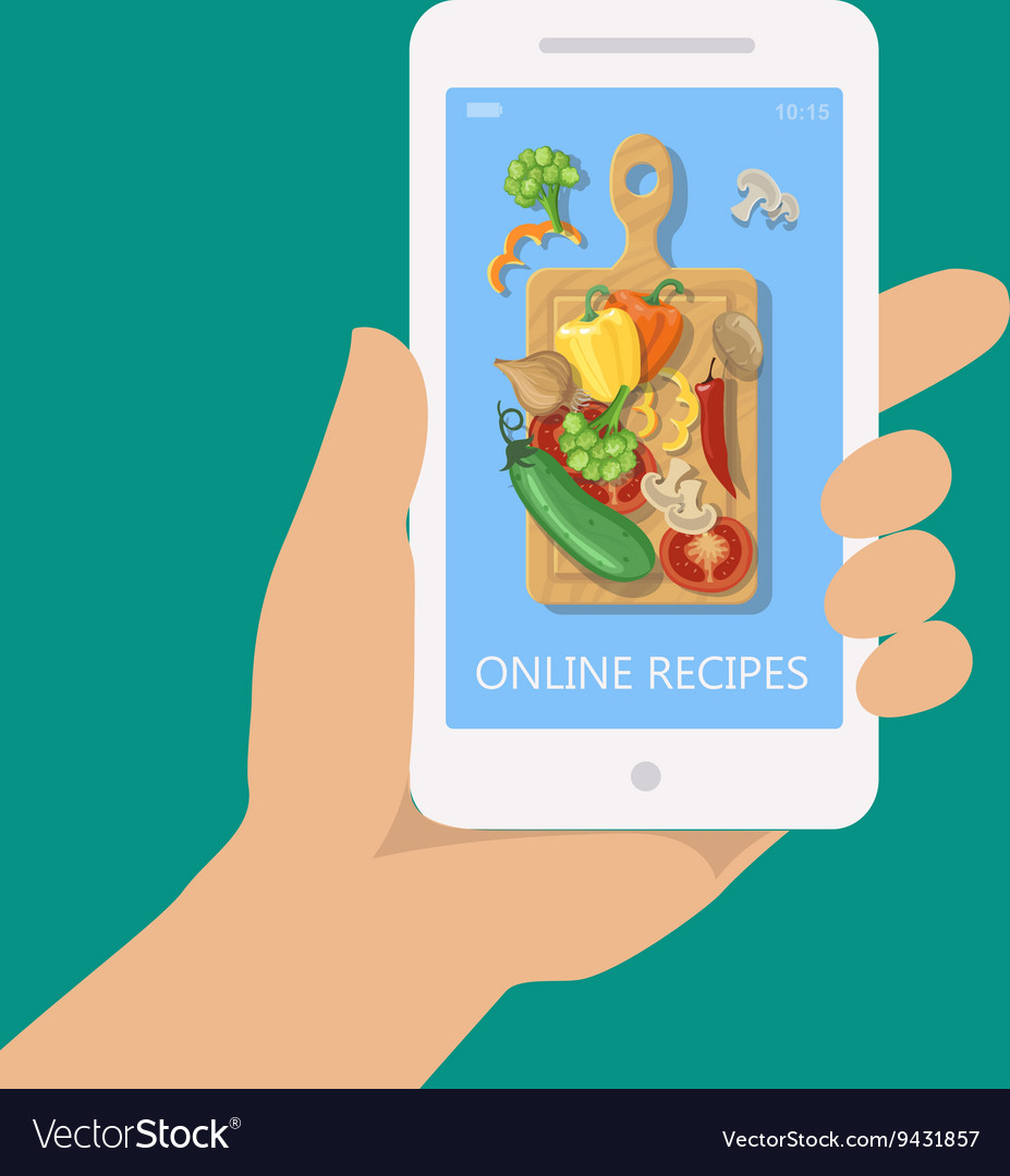 Online recipe on mobile phone in flat style