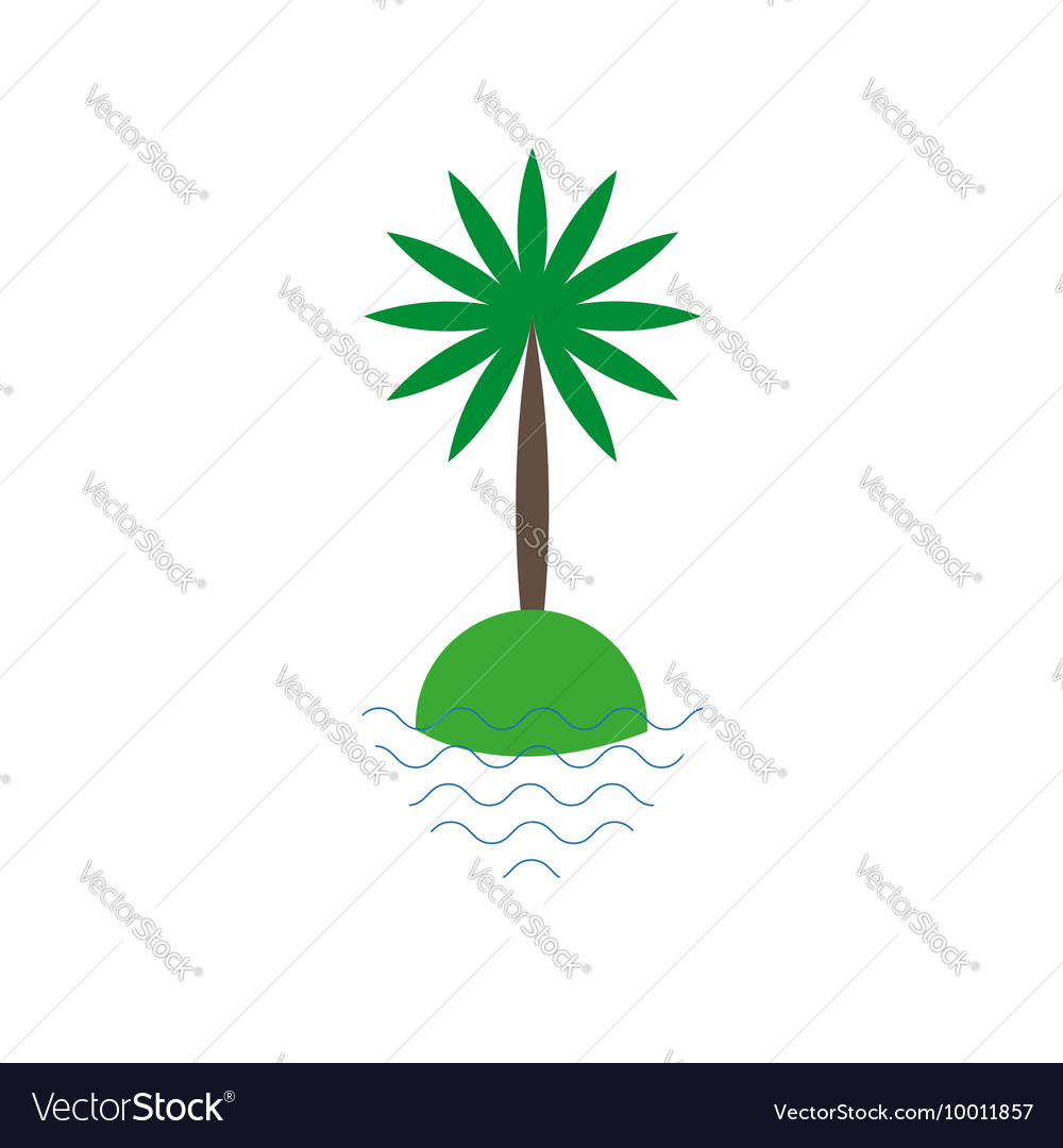 Palm tree on a small island icon