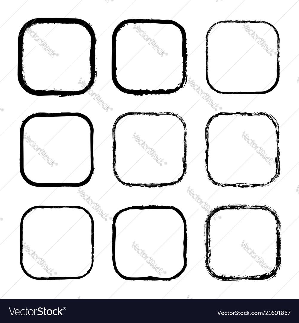 Set of black painted frames of squares