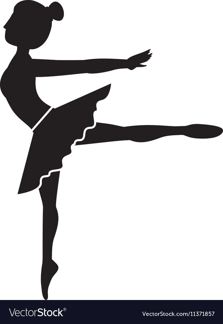 Silhouette dancer pose fourth arabesque