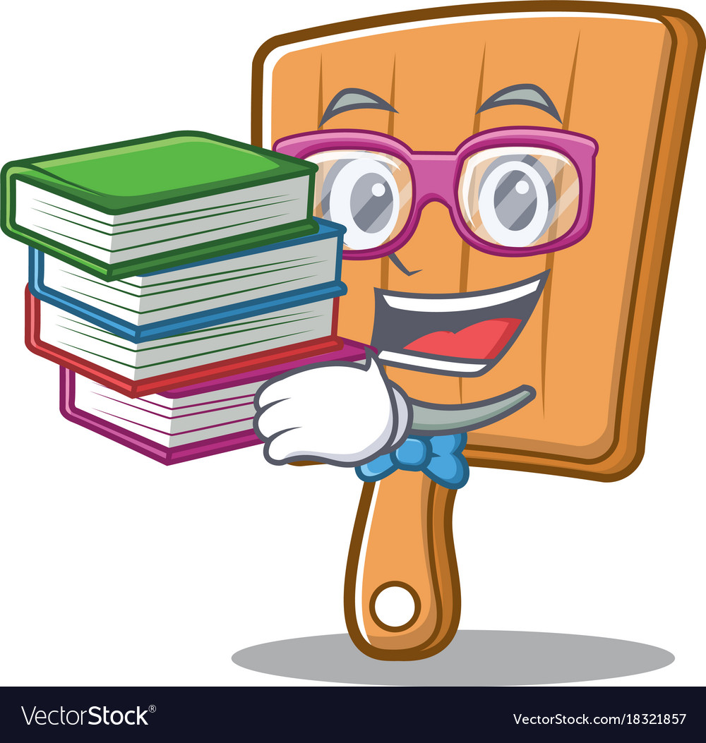 Student with book kitchen board character cartoon