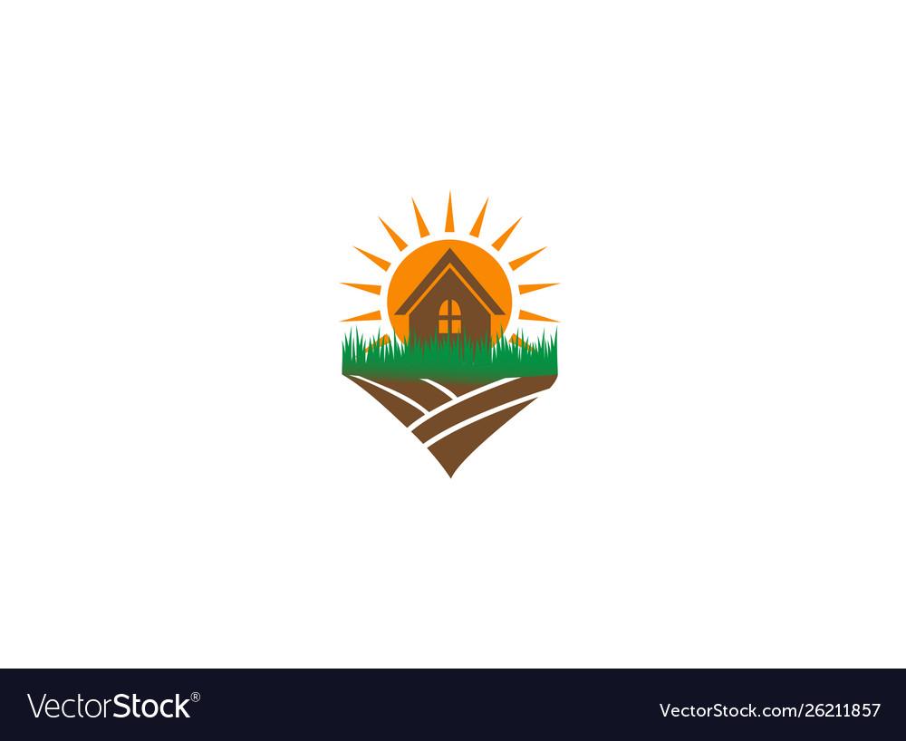 Sun and home in farm logo design