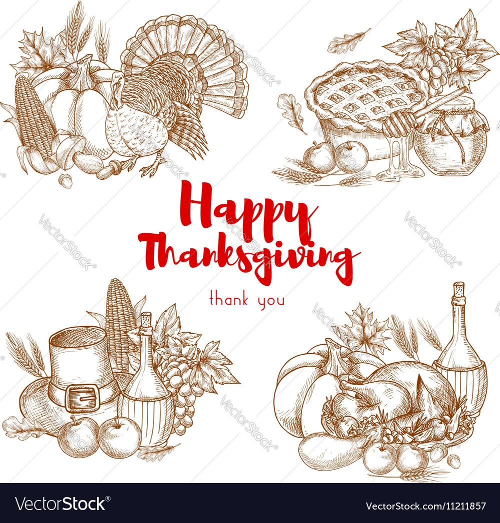 Thanksgiving holiday sketch symbols set