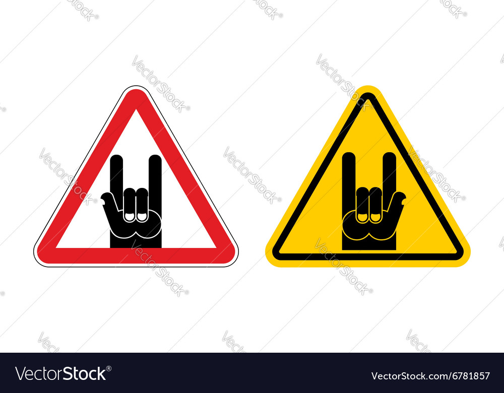 Warning sign of attention rock music Rock hand