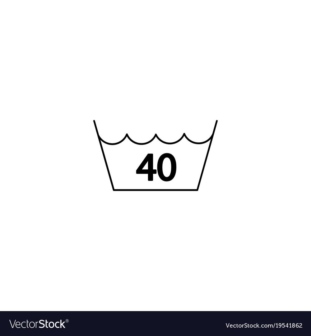 40 Degrees Washing Laundry Symbol Line Icon Black Vector Image
