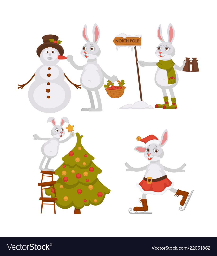 Christmas bunny and snowmanwith hat activities