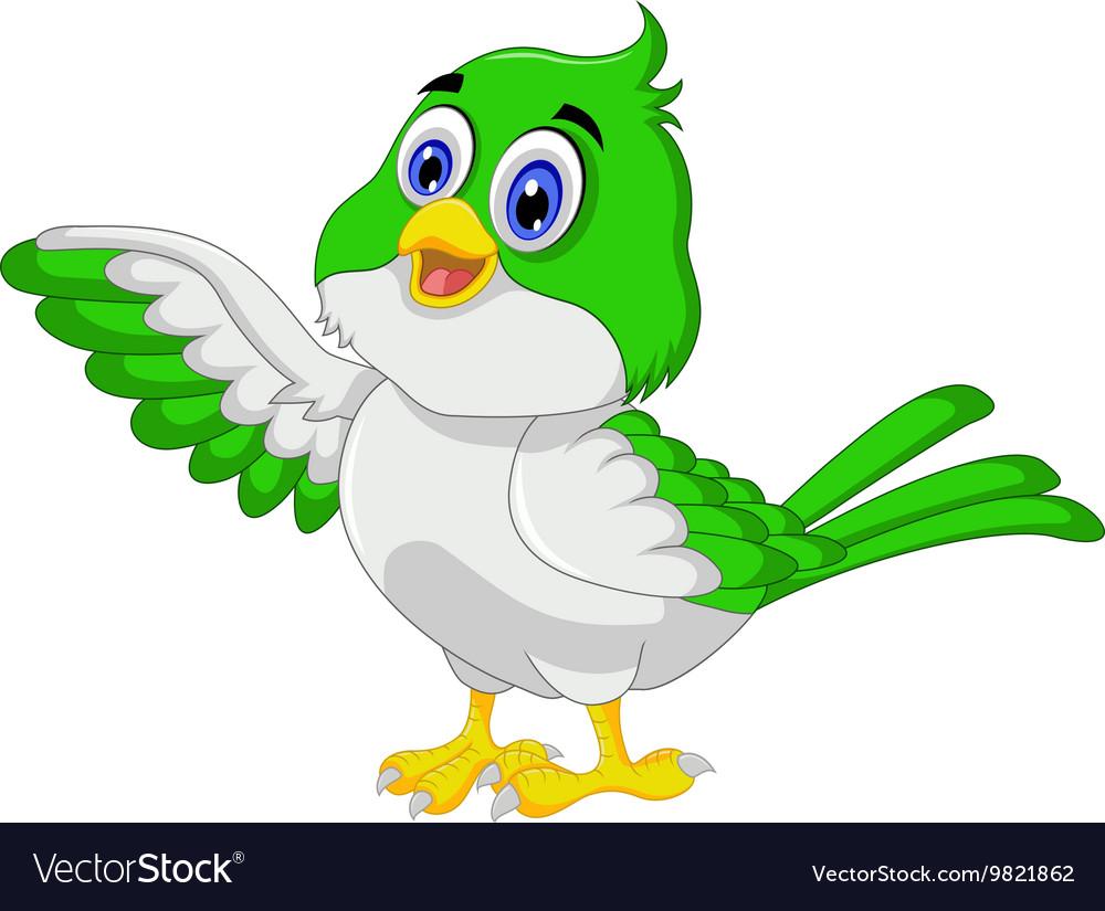 Cute bird cartoon posing