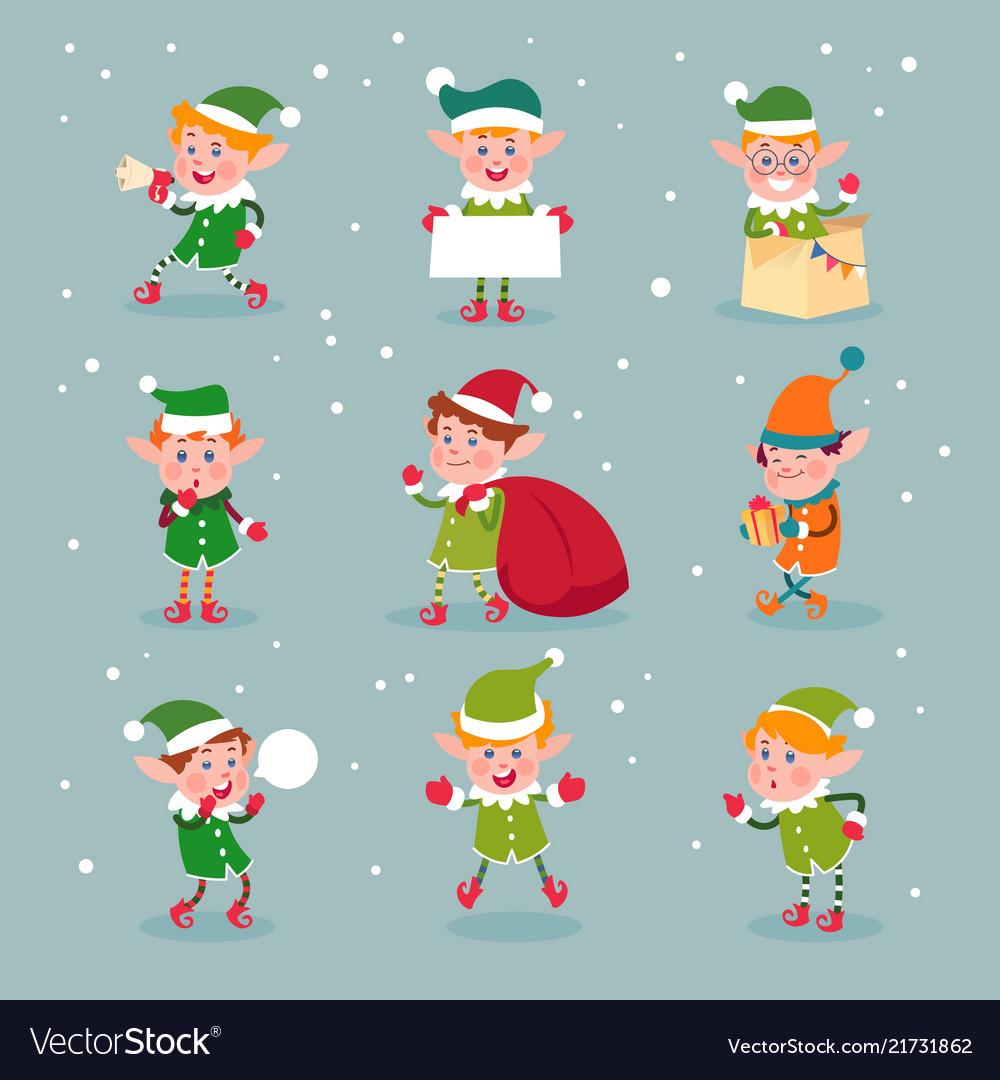 Elf cartoon santa claus helpers dwarf christmas