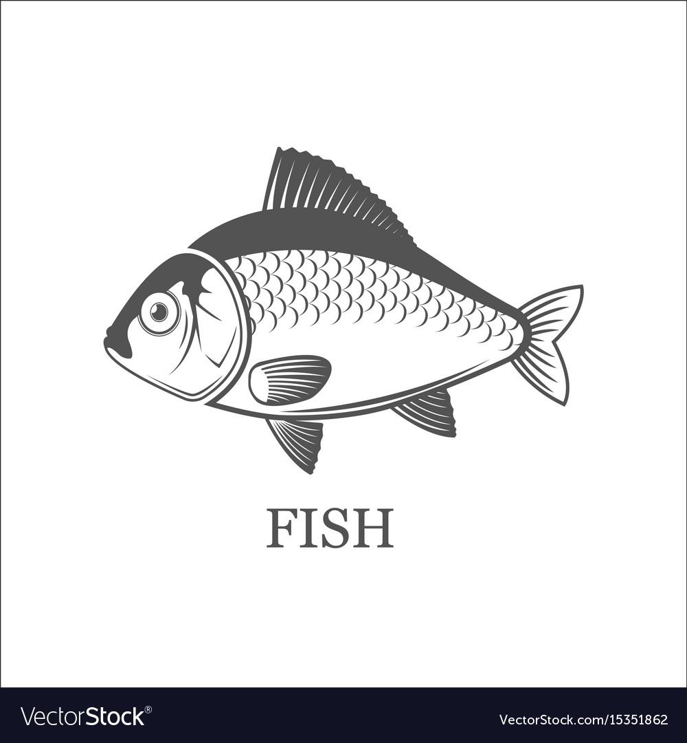 Fish logo grey isolated black