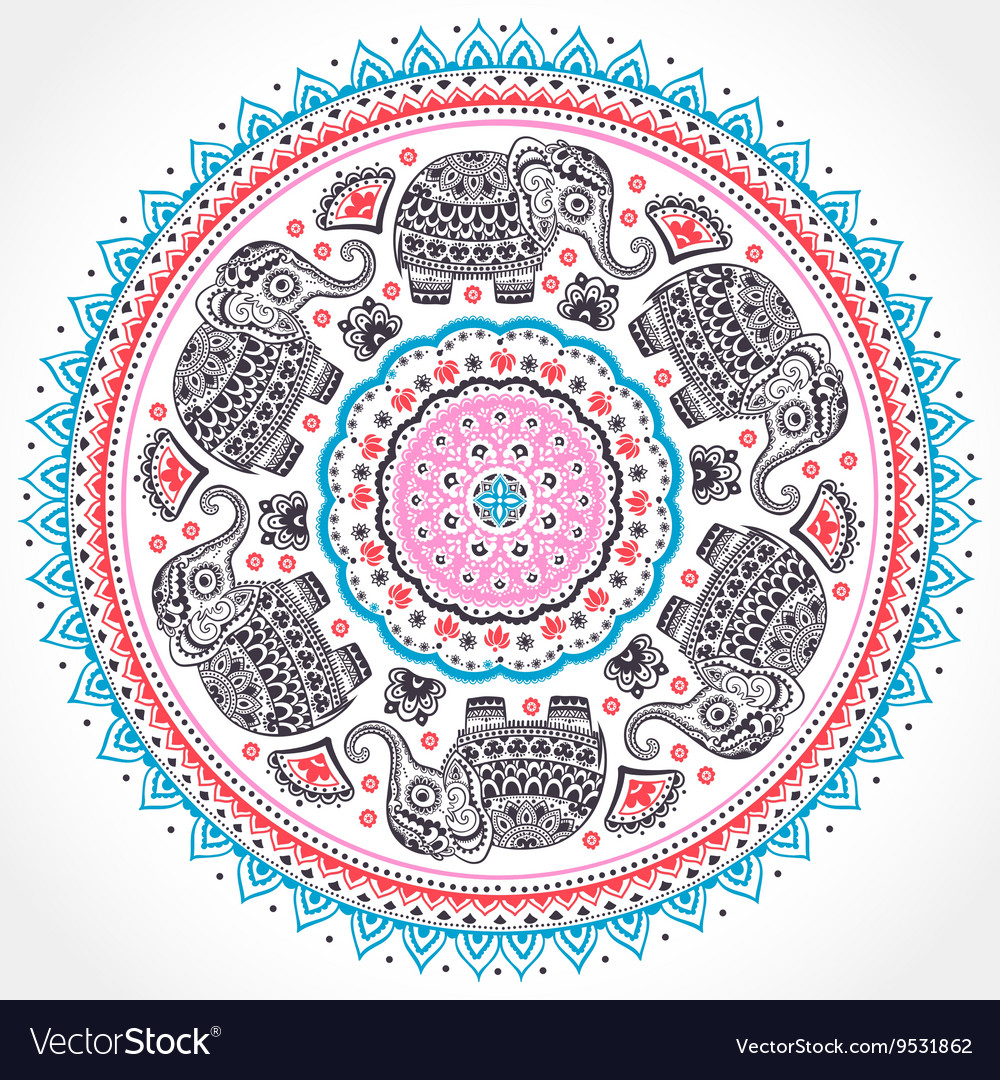 Indian ethnic mandala ornament with tribal aztec