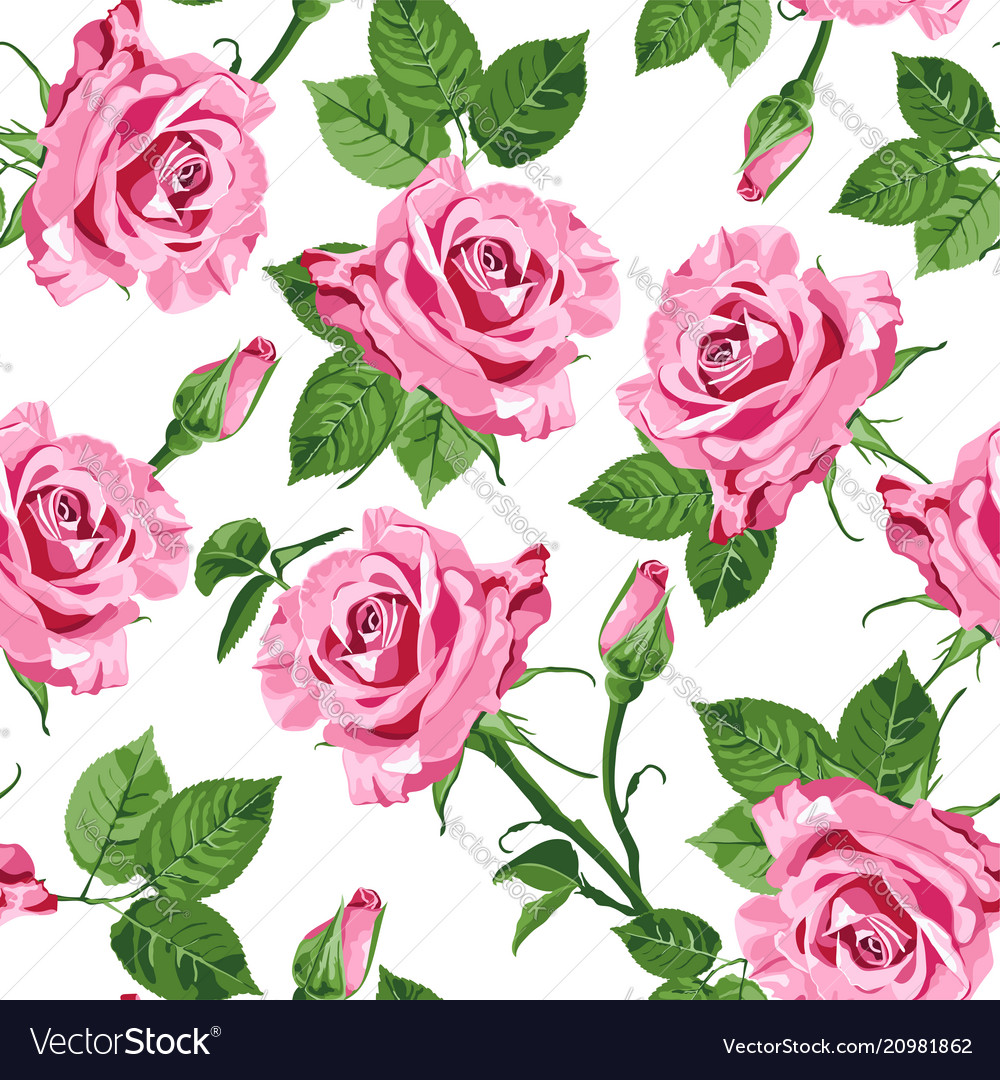 Pink roses and leaves seamless pattern