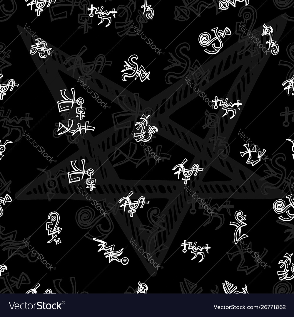 Seamless background with white mystic symbols on b