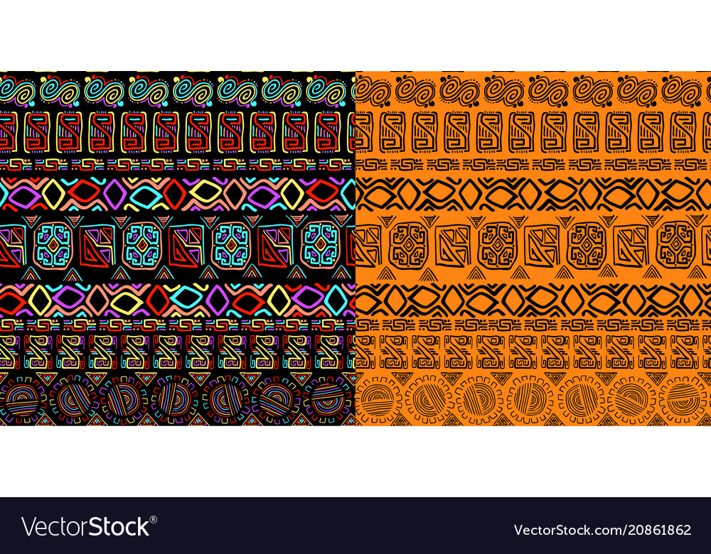 Set of seamless background ethnic hand drawn