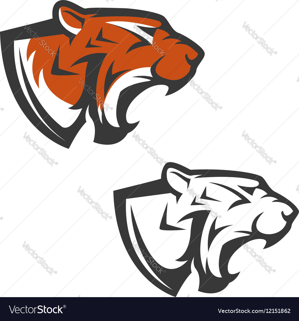 Set of the tiger heads Sport team mascot Design