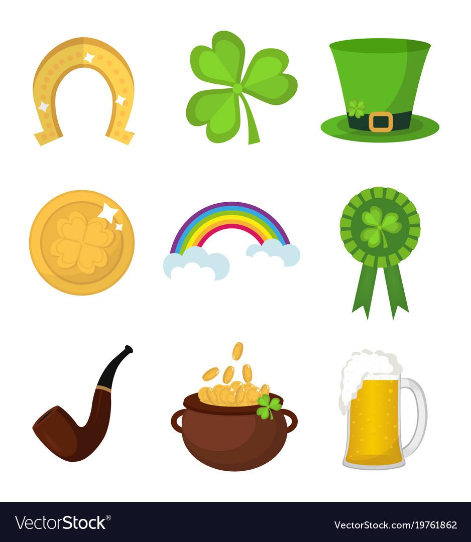 St Patricks Day Icon Set Design Element Royalty Free Vector