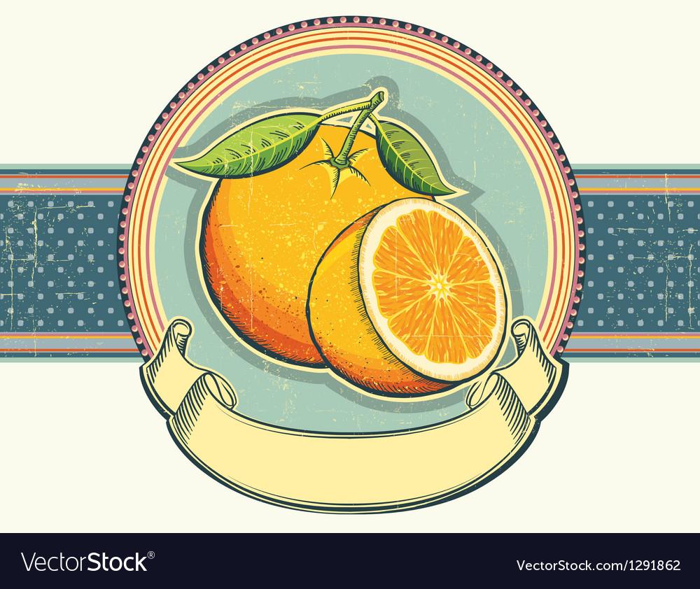 Vintage label on old paperOrange fresh fruits vector image