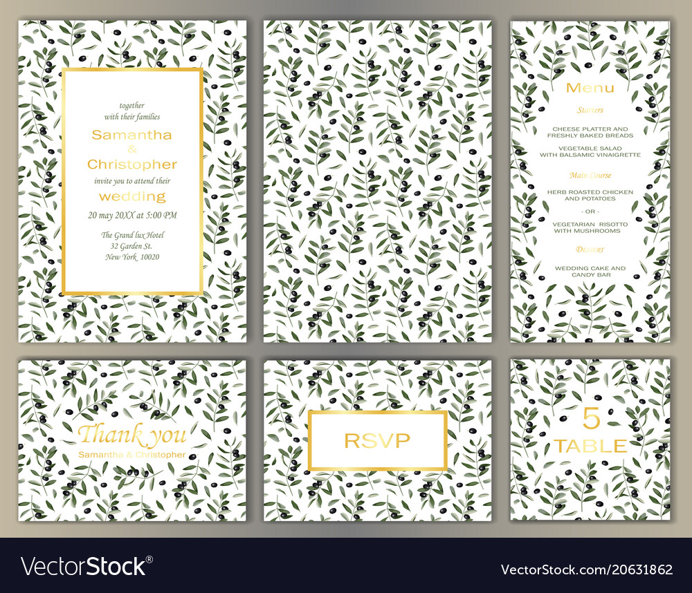 Wedding template set with olive brunches