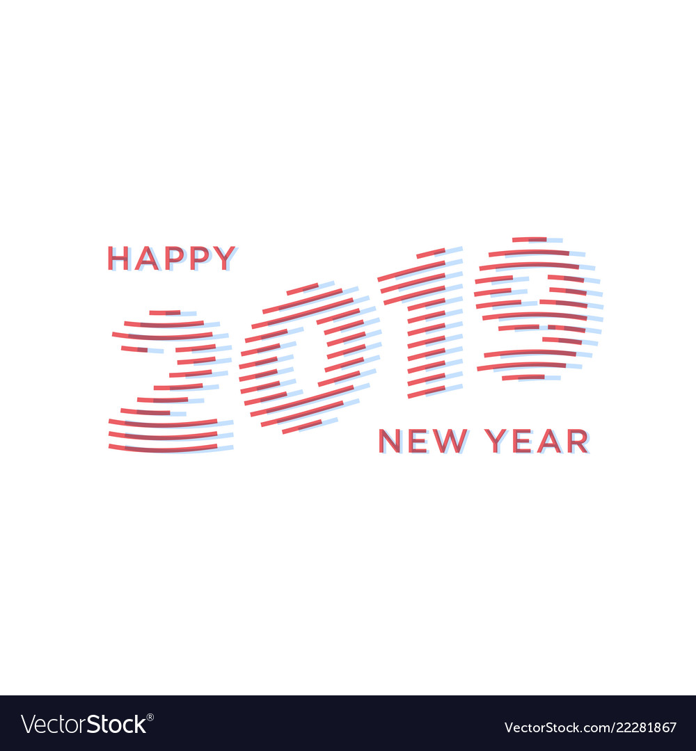 2019 happy new year numbers minimalist style