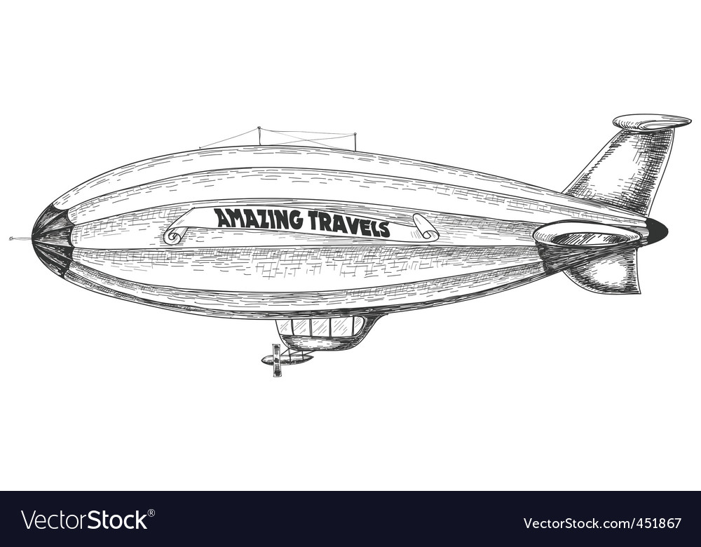 Airship pencil drawing