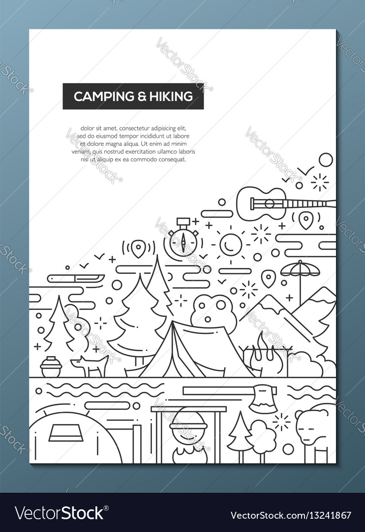 Camping and hiking - line design brochure poster