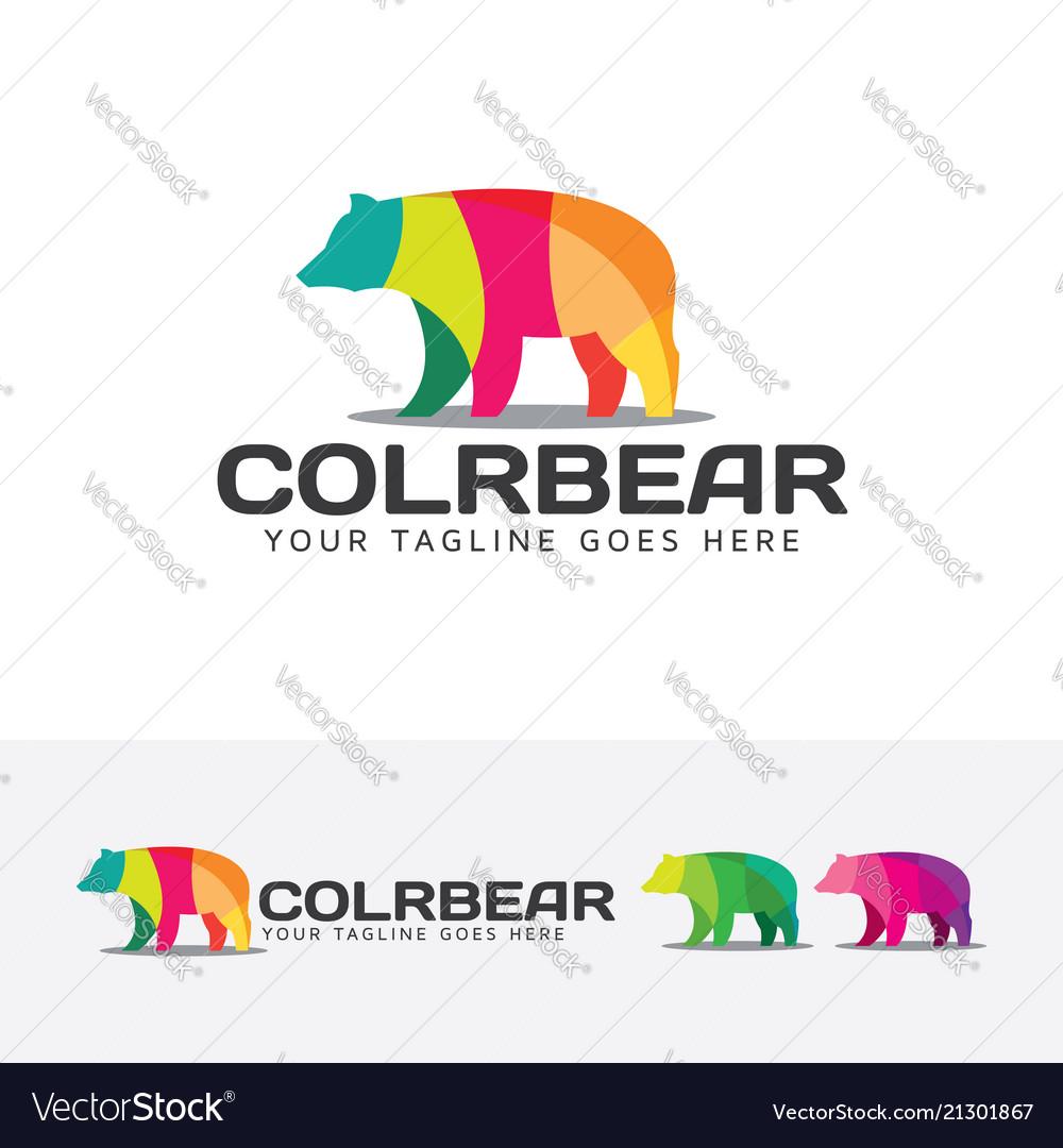 Colorful bear logo design